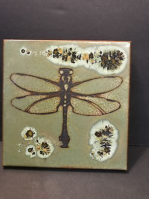Art Pottery Dragonfly Tile Wall Hanging or Trivet For Joyful Clarity USA