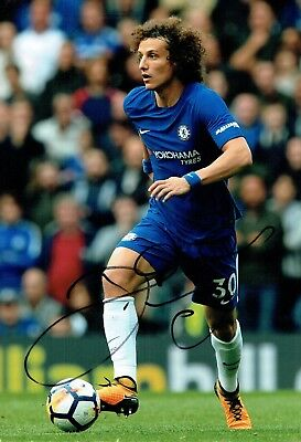 David LUIZ 2018 Signed Autograph 12x8 Photo 2 AFTAL COA Chelsea Premier League