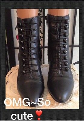 VTG 70s SWEET Victorian Granny Boots Booties 7 Blk Faux Laceup Leather MI Chile