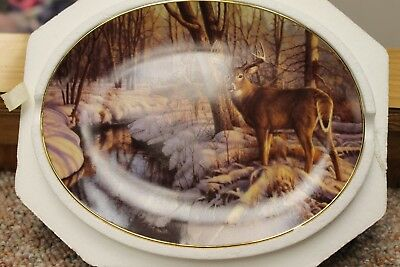 Bradford Exchange Winter's Calm Oval Deer Plate Woodland Tranquility Collection