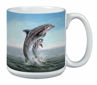 Dolphin Leaping Extra Large Mug, 20-Ounce Jumbo Ceramic Coffee Mug Cup,
