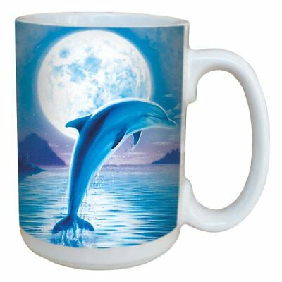 Dolphin Moon Coffee Mug - Large 15-Ounce Ceramic Cup, Full-Size Handle - Gift