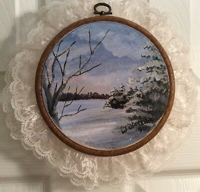 Vintage Painting on Canvas Winter Scene Sky Cabin Lake Snow Trees Signed Dated