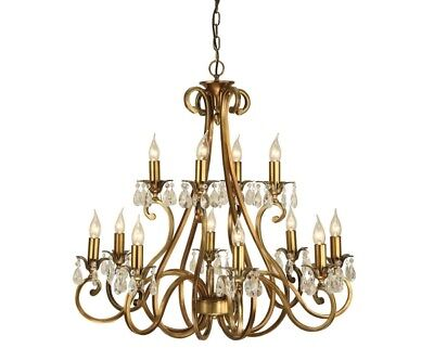 Antique Brass & Lead Crystal Chandeliers and Wall Lights, Hallway, Restaurant.