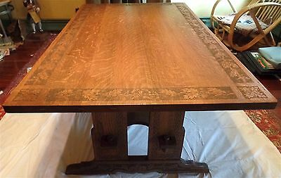 "L&JG STICKLEY TRESTLE TABLE 36"" x 60"" w/Carved Top, Base & Feet. ARTS & CRAFTS"