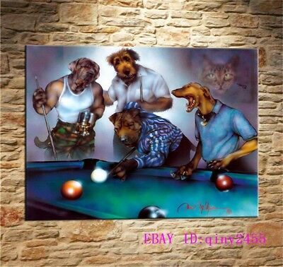 Dogs Playing Pool,HD Print Art Home Decor Oil Painting on Canvas 12x16""