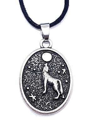 Fenris Howling Wolf and Moon Pendant Triquetra Protection Oval Necklace Corded