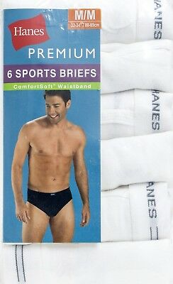 Hanes Men's Premium ComfortSoft Sport Briefs 6 Pack White