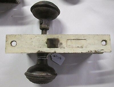 Complete Set Antique Victorian Door Knob Combination W/ Lock & Back Plates # 318