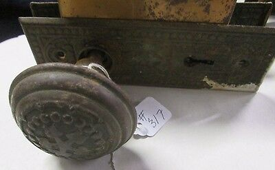 Complete Set Antique Victorian Door Knob Combination W/ Lock & Back Plates # 317