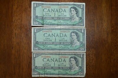 Bank of Canada 1954 $1 One Dollar Lot of 3 Vintage Notes - Collectables!!!