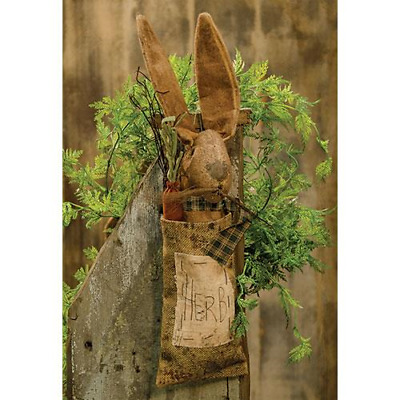 New Primitive Folk Art Antique Vintage Style Grungy Bunny Rabbit Ears Doll Sack