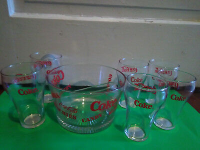 Vintage Coke/Coca Cola Snack Set-Bowl, Tongs, 6 Glasses-Pristine Condition!