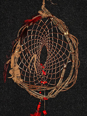 Dreamcatcher #1310- Red Coral and Rhea Feather- Native American,Tribal Art