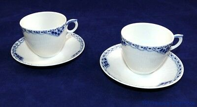 Royal Copenhagen Pair of Cup and Saucers Half Lace Pattern Excellent Condition