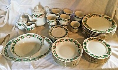 50 Piece Dinner Set Sango Noel 1990 Christmas Dishes Holly Bells Service for 8