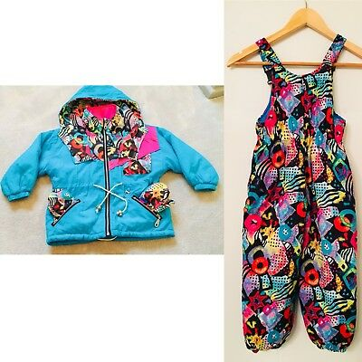 Kids Vintage Ski Coat Gloves Salopettes Trousers 80s Vintage Retro Age 4-5