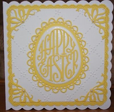 Handmade Luxury Happy Easter Card With A Filigree Yellow Egg Shape