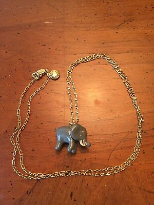 Charming J. Crew Gray Elephant Pendant on Gold Link Chain Necklace
