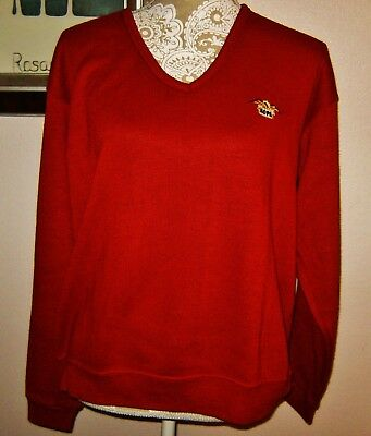 RARE Vintage AOPA Knit LS Sweater Red Aircraft Owners & Pilots Association L/XL