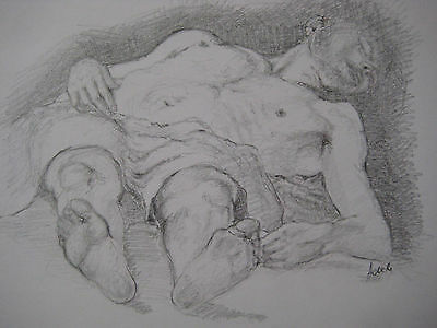 """The Dead Christ""Study of an Annibale Carracci painting in pencilOriginal art"