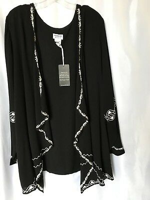 Monroe and Main Black White Embroidery Trim Cardigan Sweater Size 1X 2X PLUS