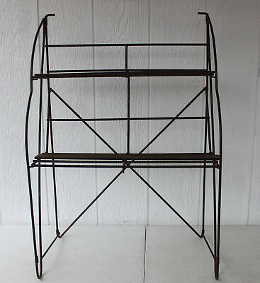 Antique Folding Wrought Iron And Wood Shelf, Old Store Counter Top Display