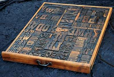 GIANT old wooden printing drawer block letterpress font wood type  display