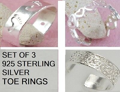3 Toe Rings 925 Sterling Silver Plated Adjustable To Suit