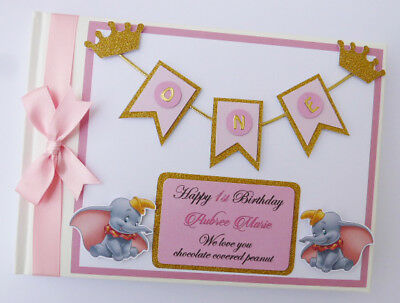 Personalise Dumbo Boy/girl /first/1St Birthday/baby Shower Guest Book Any Design