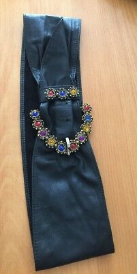 Vintage Wrapt Leather Belt With Rhinestones Size L Made In Australia