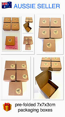 """🎁~x5 RUSTIC (7x7x3cm) """"BROWN"""" FOLDED SOAP GIFT PACKAGING BOXES + HANDMADE LABEL"""