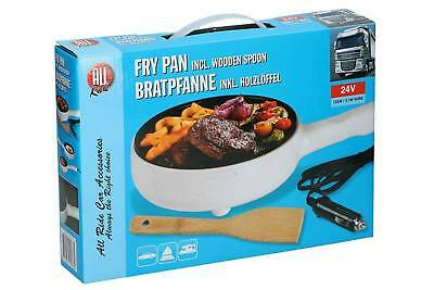 24V Non-Stick Electric Frying Pan with Wooden Spoon HGV TRUCKER LORRY 135W