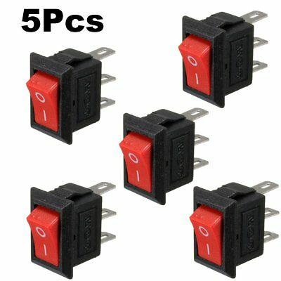 5Pcs 250V 3A Power Mini Boat Rocker Switch 3 Pins SPST ON-OFF Snap In Button