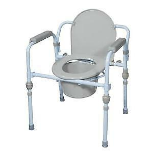 Drive Medical 3-in-1 Bedside Folding Commode Standard Size, Blue Powder *NEW*
