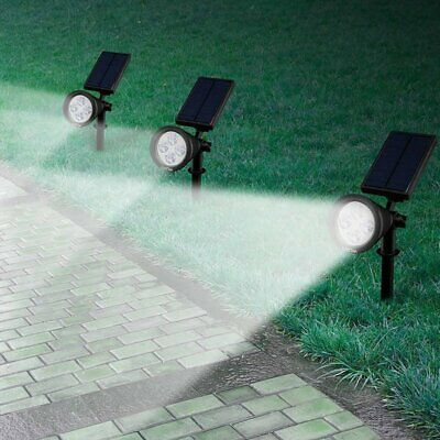 4 LED Solar Powered Lights Garden Outdoor light Flood Yard Lawn Wall Spot Lamp