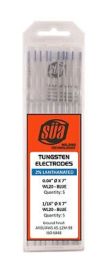 "SÜA  2% Lanthanated Tungsten Electrode Mixed Sizes 0.04"" & 1/16"" x 7"" Blue Tip"