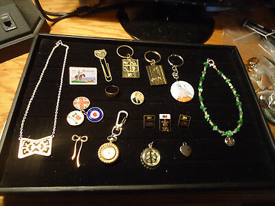 Mixed lot of Vintage Items 17 Pieces Lapel Pins Key Rings Jewelry and More