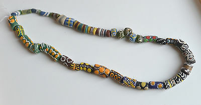 Venetian African Glass Trade Beads Lot Multicolor Hand Decorated