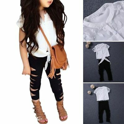 2PCS Toddler Baby Girls Clothes T-shirt Tops+Hole Pants Leggings Outfit Set 3-8Y