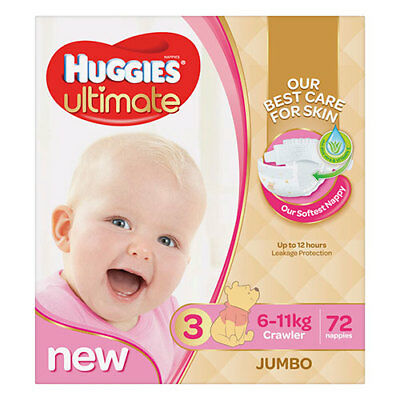 NEW Huggies Ultimate Crawler Nappies for Girls - 72 Pack