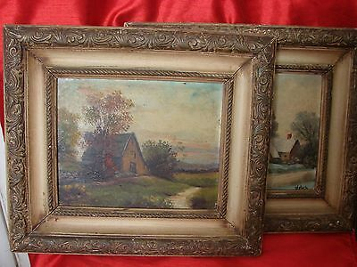 Pair American 20th Century Rural Landscape Oil Painting on Board  signed Welsch