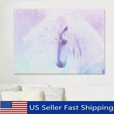Unicorn Canvas Print Art Painting Wall Picture Home Kids Room Decor Cartoon US