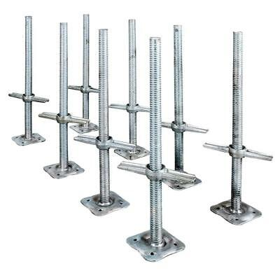 Adjustable 24 in. Steel Leveling Scaffolding Screw Jack with Base Plate (8-Pack)