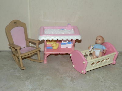 VINTAGE Fisher Price Loving Family dolls house baby, change table, cot (pack 5)