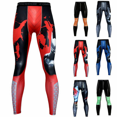 Mens Athletic Compression Long Pants Workout Base Layer Sport Gym Jogging Tights