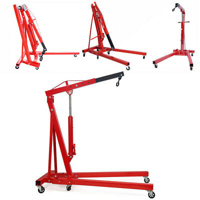 2 Ton Hydraulic Folding Lifter Engine Crane Hoist Lift Workshop Stand With Wheel