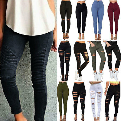 Women's Stretchy Faded Ripped Jeans Skinny Leggings Trousers Ladies Denim Pants