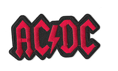 ACDC RED BLACK LOGO Iron on / Sew on Patch Embroidered Badge Music Band PT106