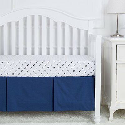 Crib Skirt Navy Blue Crib Bed Skirt Pleated100%Natural Cotton Baby Boys or Girls